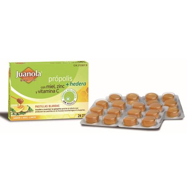 Juanola Propolis Hiedra Pastillas Miel Limon  24 Pastillas